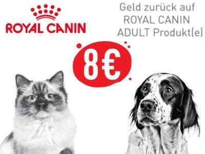 Hund und Katze schwarz/weiß auf weißem Hintergrund, oben links das Royal Canin Logo, 8-Euro-Button in rot mitten im Bild