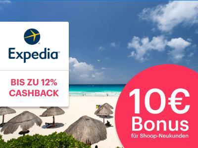 Jetzt bis zu 12% Cashback bei Expedia + 10€ Cashbackbonus für Neukunden sichern