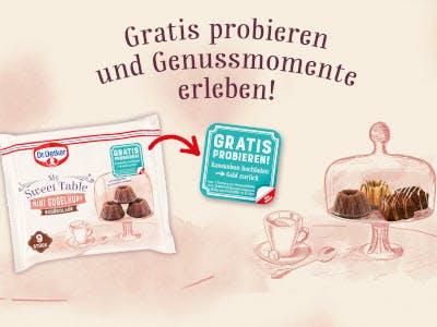 Heller Hintergrund, Sweet Table Packung und Glasschale im Vordergrund, AktionsSlogan oben und Aktionsbutton in der Bildmitte