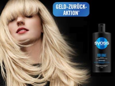 Schwarzer Hintergrund, links Frau mit langen blonden Haaren, oben, mittig im Bild Aktionsbutton, rechts eine Flasche Syoss