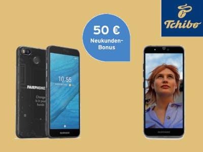 Tchibo Logo, Handy mit Frauenbild, 50 € Neukundenbonus Button