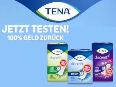 TENA-Aktion, hellblauer Hintergrund mit TENA Logo oben, Produkte unten rechts, weiße Schrift mit Aktionsslogan links