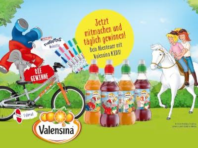 Benjamin Blümchen turnt auf dem Fahrrad, Bibi und Tina auf dem Pferd, Valensina Flaschen in der Bildmitte, gelber Gewinnspiel-Button oben im Bild