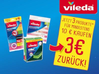 Blauer Hintergrund, Vileda Packungen füllendas Bild aus, das Vileda Logo ist oben rechts