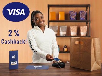 Mit Visa zahlen - 2 % Cashback