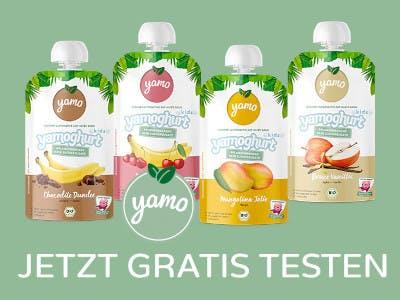 Vier Yamoghurt Produkte auf hellgrünem Hintergrund, unten der Aktions-Slogan