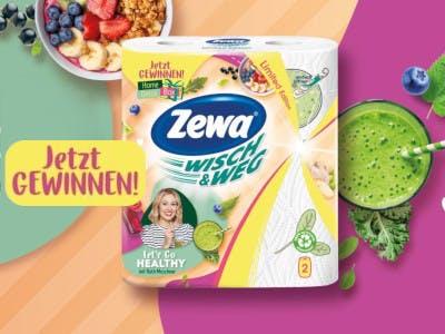 Buntes Bild mit einer ZEWA Packung, darauf ein Bild von Ruth Moschner, Zewa-Logo und Aktionsslogan