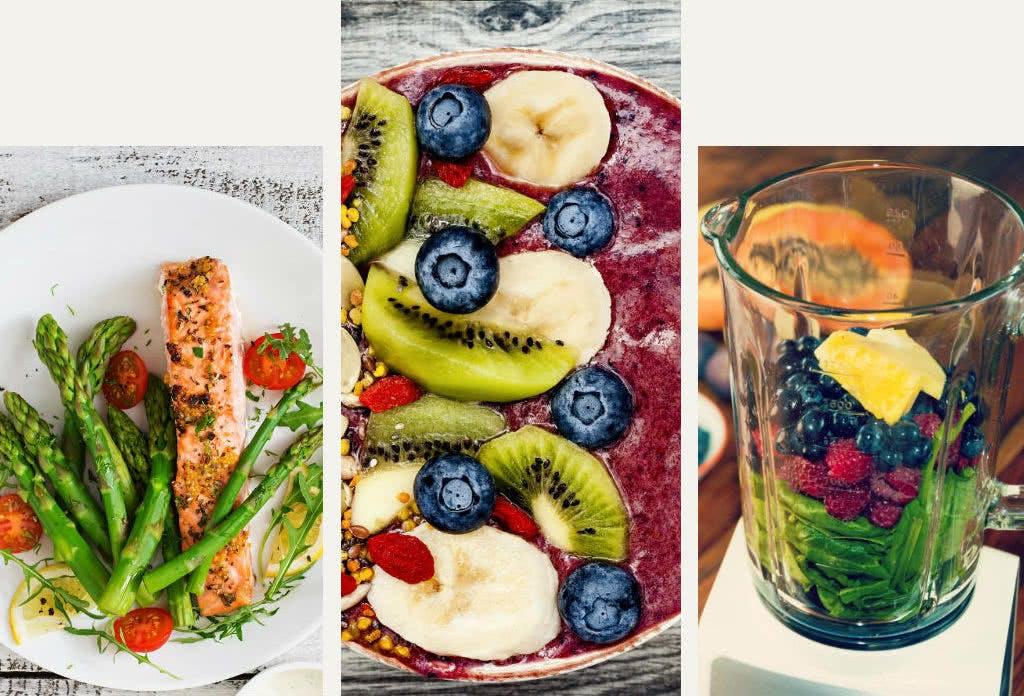 Viel Obst und Gemüse: das Essen für die schlanke Linie