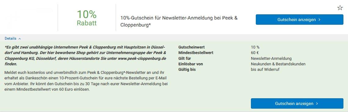 10% Rabatt bei Peek & Cloppenburg sichern