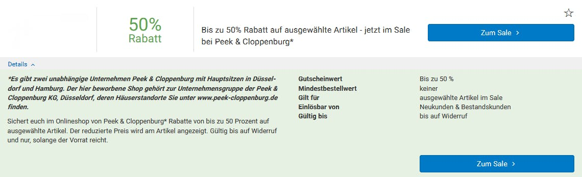 50% Rabatt im Peek & Cloppenburg-Sale