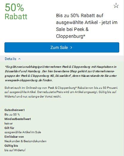 Jetzt 50% sparen im Peek & Cloppenburg-Sale