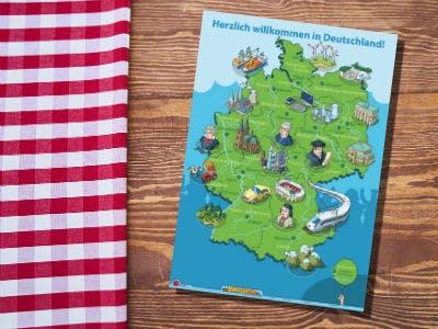 Eine Deutschlandkarte mit Illustrationen zu den Kulturdenkmälern Deutschlands