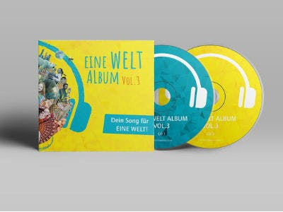 Eine Welt-Album mit Cover auf grauem Hintergrund