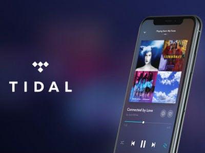 Neben dem Tidal Logo ist ein Smartphone zu sehen auf dem die Tidal App geöffnet ist