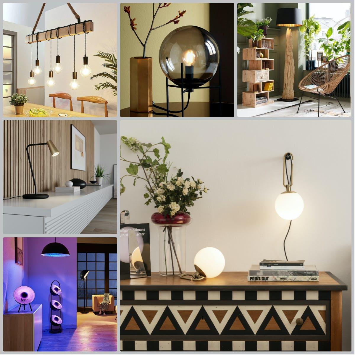 Eine Collage mit verschiedenen Lampen
