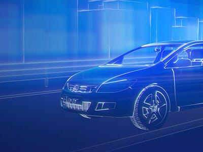 Auto in blauem Licht