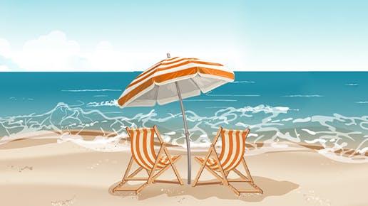 Zwei Liegestühle am Meer.