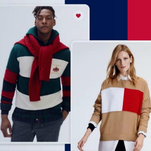Ein Mann und eine Frau tragen Kleidung von Tommy Hilfiger