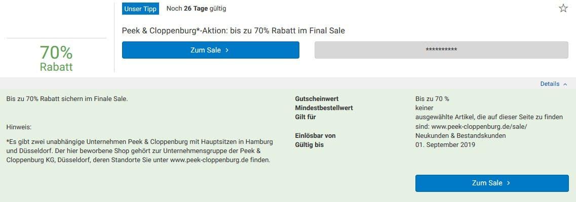 70% Rabatt im Peek & Cloppenburg-Sale