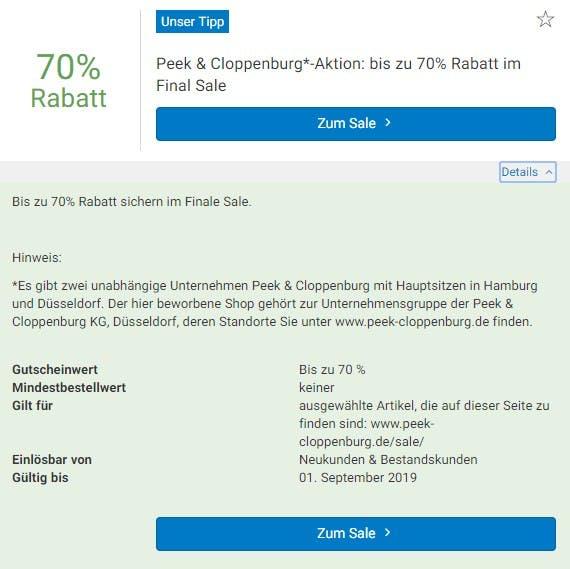 Jetzt 70% sparen im Peek & Cloppenburg-Sale