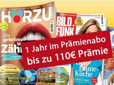 1 Jahr Zeitschriften-Abo mit bis zu 110€ Prämie