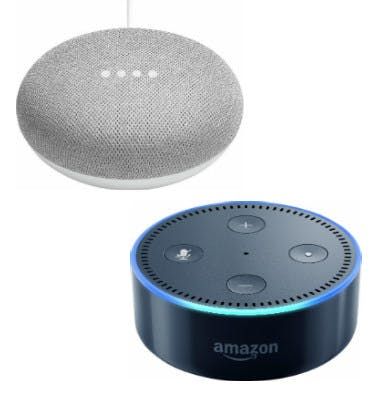 Amazon Echo Dot und Google Home Mini
