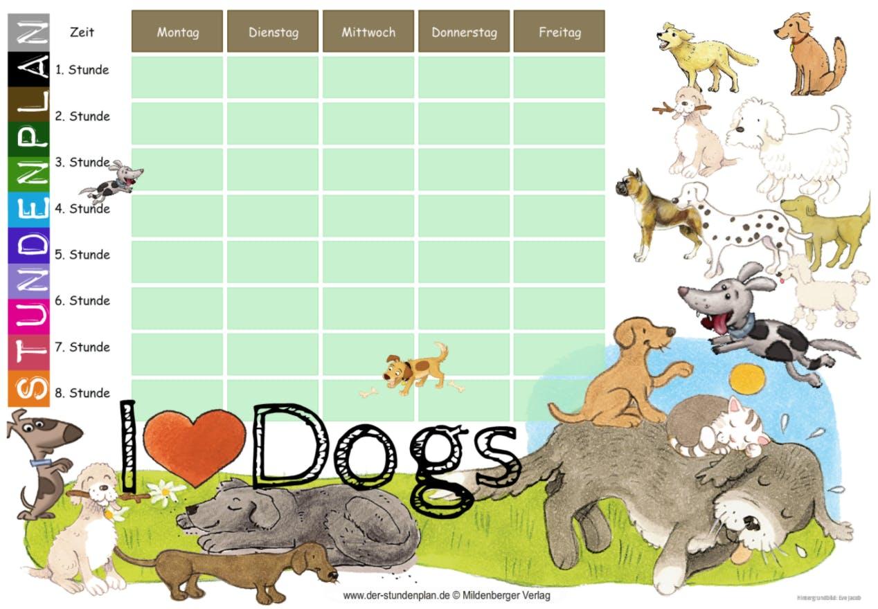 Kostenloser Stundenplan mit Hunde Motiv