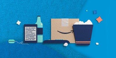 Amazon-Produkte auf einem blauen Hintergrund