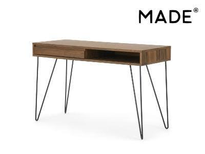 Cerian Schreibtisch mit Schubladen, Walnuss und Schwarz