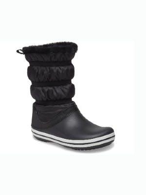 Schwarze Stiefel auf weißem Hintergrund