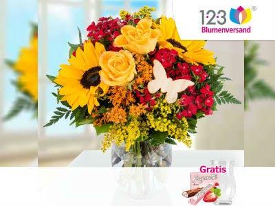 Blumenstrauß Liebste Mama mit Vase & Ferrero Yogurette