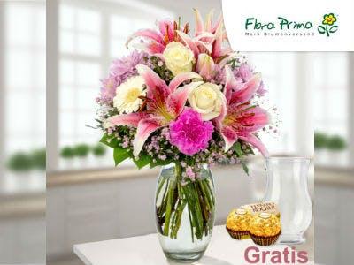 Blumenstrauß Mama Mia mit Vase & 2 Ferrero Rocher