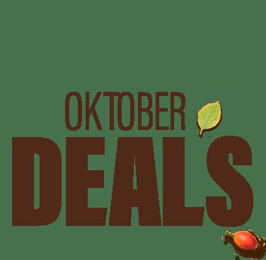 Oktober-Deals-Schriftzug auf orangem Hintergrund