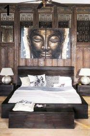 Ein Must-have für alle Kolonialstil-Fans: das massive Bett aus Holz