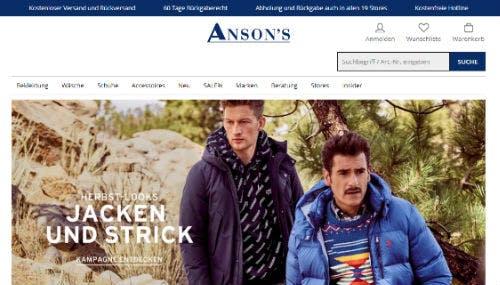 Spare mit Gutscheinen bei Anson's