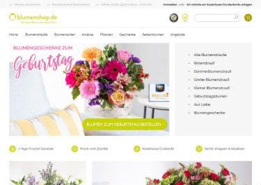 Startseite von Blumenshop.de