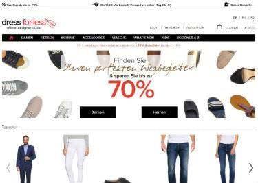 Angebote mit bis zu 70% Rabatt auf der Startseite von dress-for-less