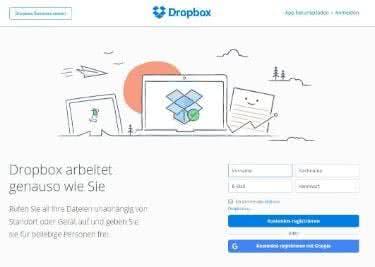 Dropbox-Startseite