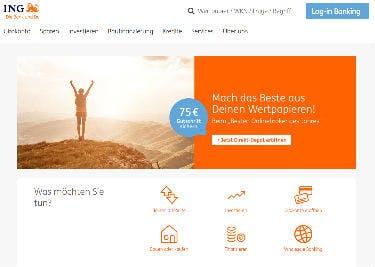 Startseite von ING