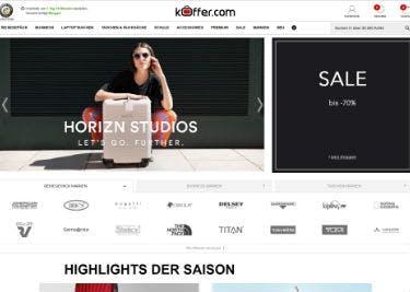 Startseite von KOFFER.COM