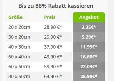 Meinfoto.de bietet dir Sparmöglichkeiten.