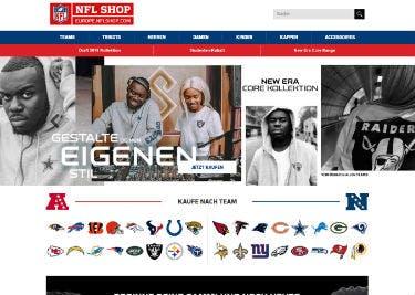Startseite des NFL Shops
