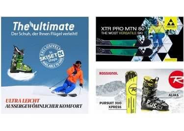 Bei Skiset findest du alles, was das Wintersport-Herz für eine wilde Tour auf der Piste benötigt