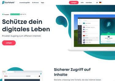 Startseite von Surfshark
