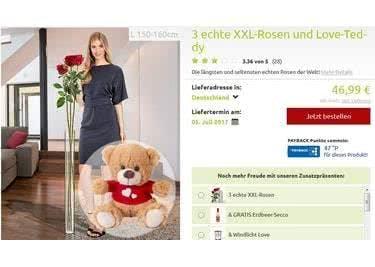 Dein Schwarm freut sich über Rosen und einen Teddy.