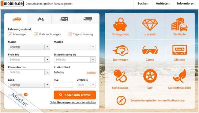 Bei mobile.de findet ihr zahlreiche Fahrzeuge von Händlern und Privatanbeitern zum Kauf.