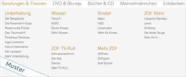 Alle Sendungen aus dem ZDF sind auch im Shop zu finden.