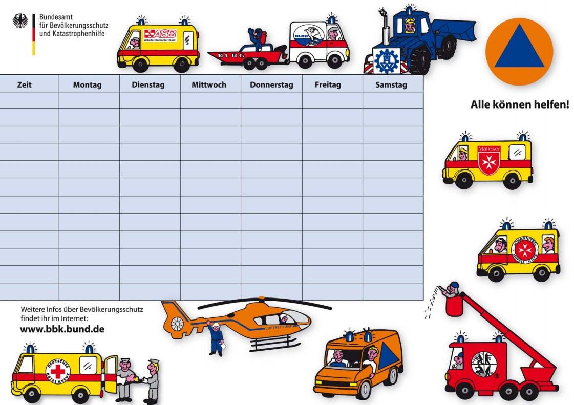 Kostenloser Stundenplan vom Bundesamt für Bevölkerungsschutz und Katastrophenhilfe