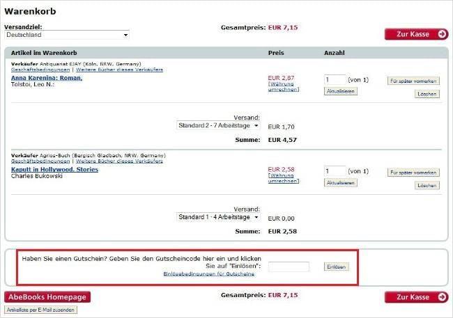 Das Einlösen eines AbeBooks-Gutscheincodes im Warenkorb ist ganz einfach.
