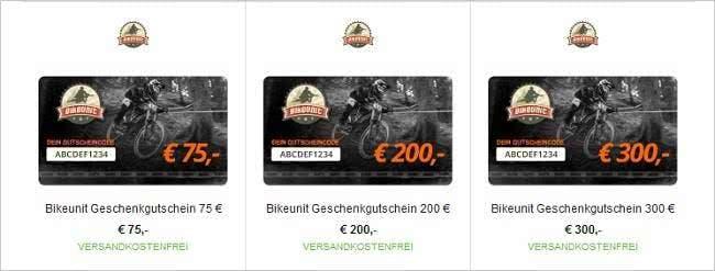 Bikeunit-Geschenkgutscheine schon ab 10 Euro online bestellen